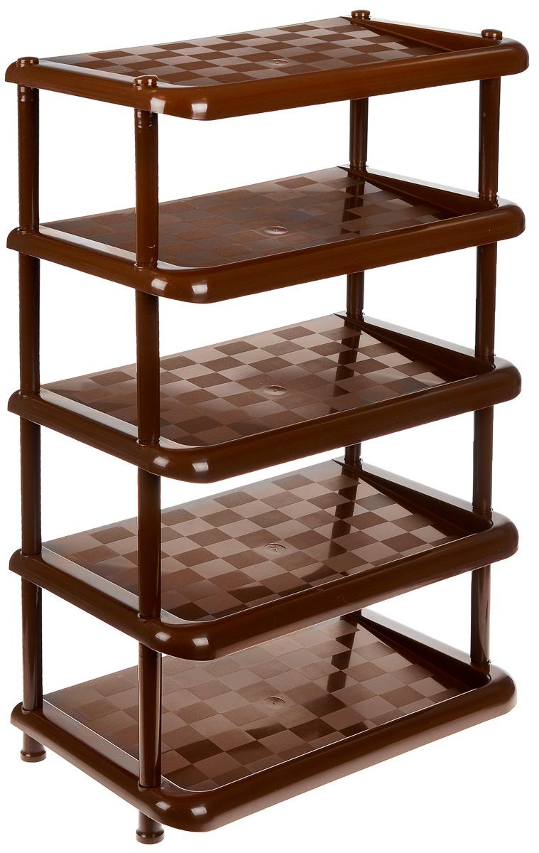 Этажерка для обуви Idea, 5-секционная, цвет: коричневый, 49,7 х 30,7 х 83,7 см этажерка альтернатива ягодный микс 4 секционная цвет мятный 52 см х 30 см х 82 5 см