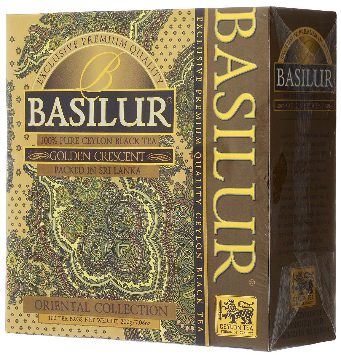 Basilur Golden Crescent черный чай в пакетиках, 100 шт basilur frosty afternoon черный листовой чай 100 г жестяная банка