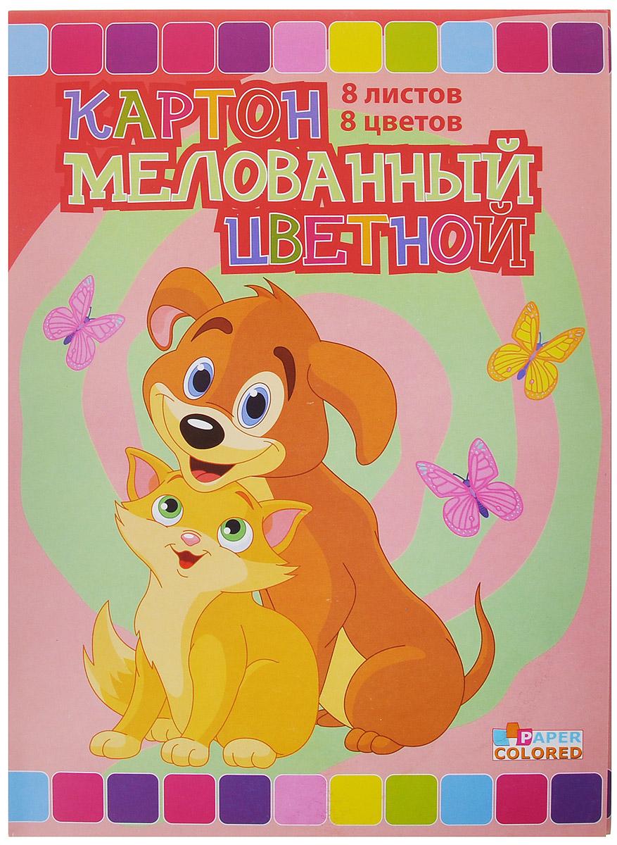 Бриз Набор цветного картона Кошка с собачкой, двусторонний, мелованный, 8 цветов елькина е жиренкина е корчемкина е худ умный малыш 9 книжек кубиков