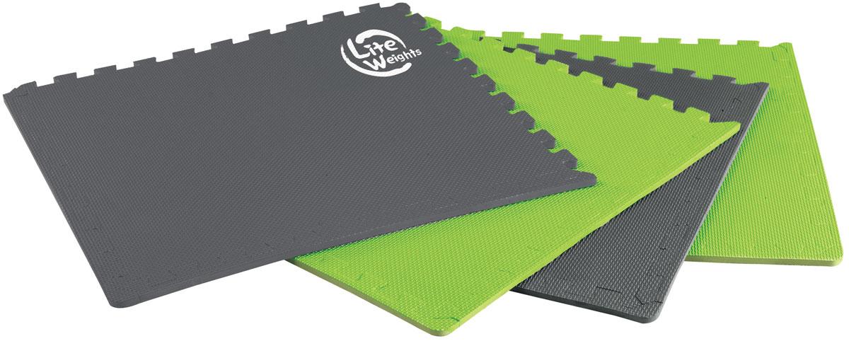 Защитный коврик под тренажеры Lite Weights, цвет: серый, зеленый тренажеры
