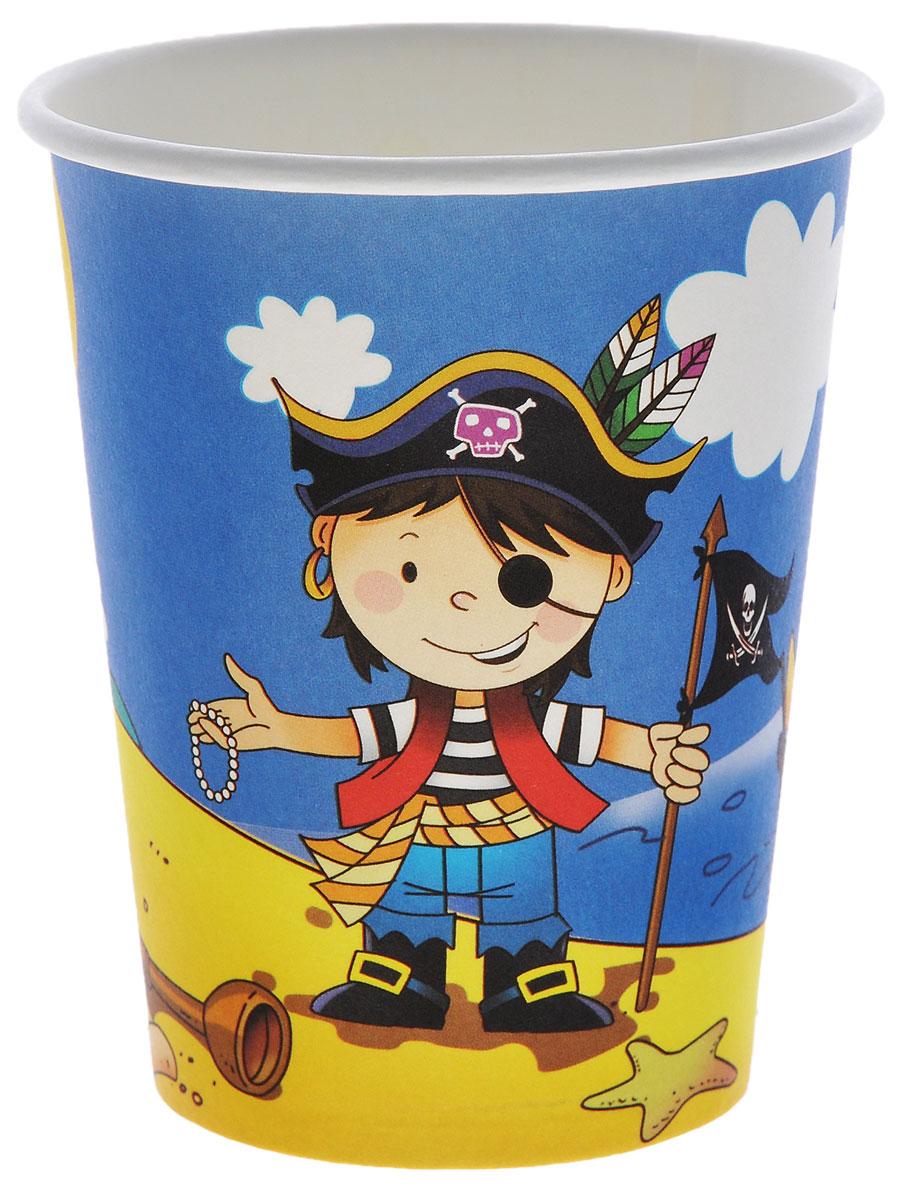 Веселая затея Стакан Маленький пират, 250 мл, 6 шт веселая затея стакан медвежонок девочка 8 шт