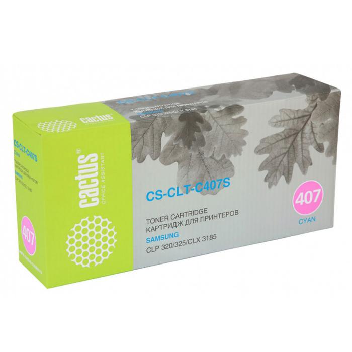 Картридж Cactus CS-CLT-C407S, голубой, для лазерного принтера