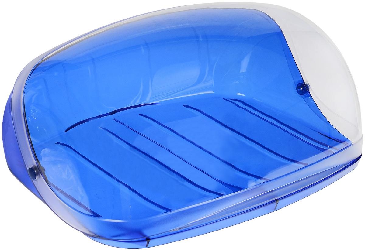 Хлебница Idea Кристалл, цвет: синий, прозрачный, 29 х 25 х 15 см масленка idea кристалл цвет оранжевый прозрачный