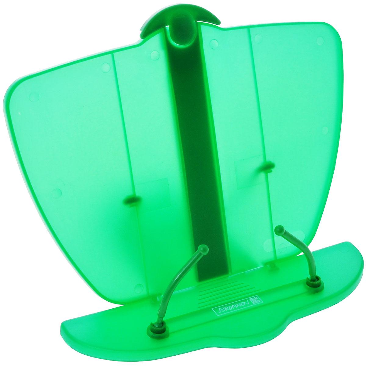 Brunnen Подставка для учебников, цвет: зеленый40402\BCD_зеленыйПодставка для учебников Brunnen, выполненная из полупрозрачного прочного пластика синего цвета. Удобная и устойчивая подставка специально предназначена в помощь в обучении, а несколько ступеней креплений сделает удобным наклон в соответствии со всеми индивидуальными предпочтениями и привычками школьника. Она обязательно понравится первоклашке и станет отличным помощником в обучающем процессе, а также простимулирует его интерес к учебе. Рекомендуем!
