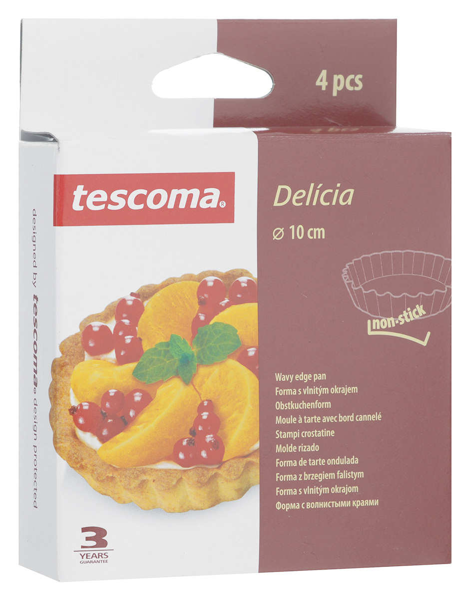 """Форма для выпечки Tescoma """"Delicia"""", с антипригарным покрытием, диаметр 10 см, 4 шт"""