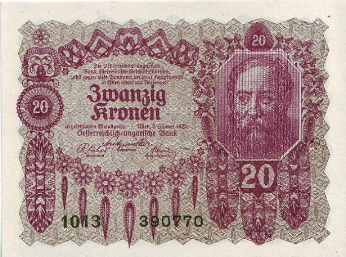 Банкнота номиналом 20 крон. Австрия. 1922 год банкнота австрия р75