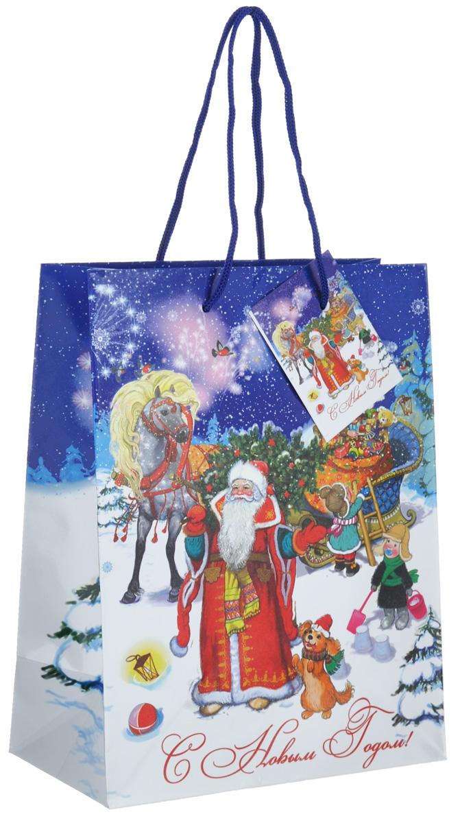 Пакет подарочный Феникс-Презент Дед Мороз с елкой, 17,8 х 22,9 х 9,8 см пакет подарочный феникс презент дед мороз с елкой 17 8 х 22 9 х 9 8 см