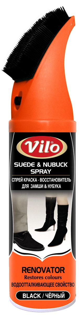 Спрей краска-восстановитель для замши и нубука Vilo, цвет: черный, 200 мл краска спрей abro masters цвет серый грунт sp 008 am