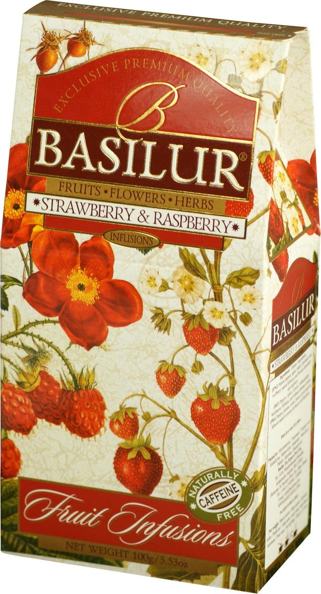 Basilur Strawberry and Raspberry фруктовый листовой чай, 100 г basilur frosty afternoon черный листовой чай 100 г жестяная банка