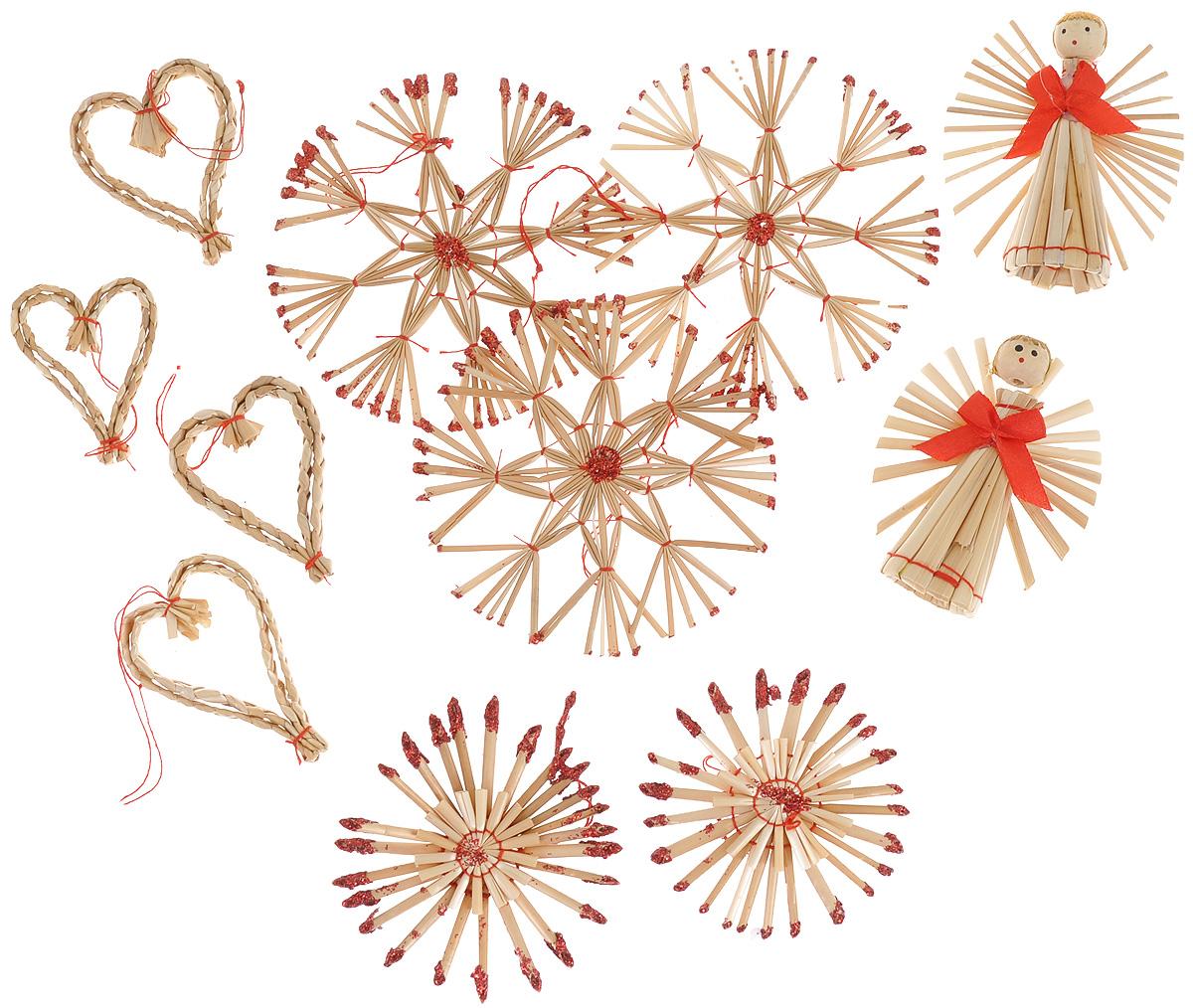 Набор новогодних подвесных украшений Феникс-презент Сердца и звезды, цвет: красный, светло-коричневый, 11 шт набор новогодних подвесных украшений феникс презент ассорти цвет красный диаметр 6 см 6 шт
