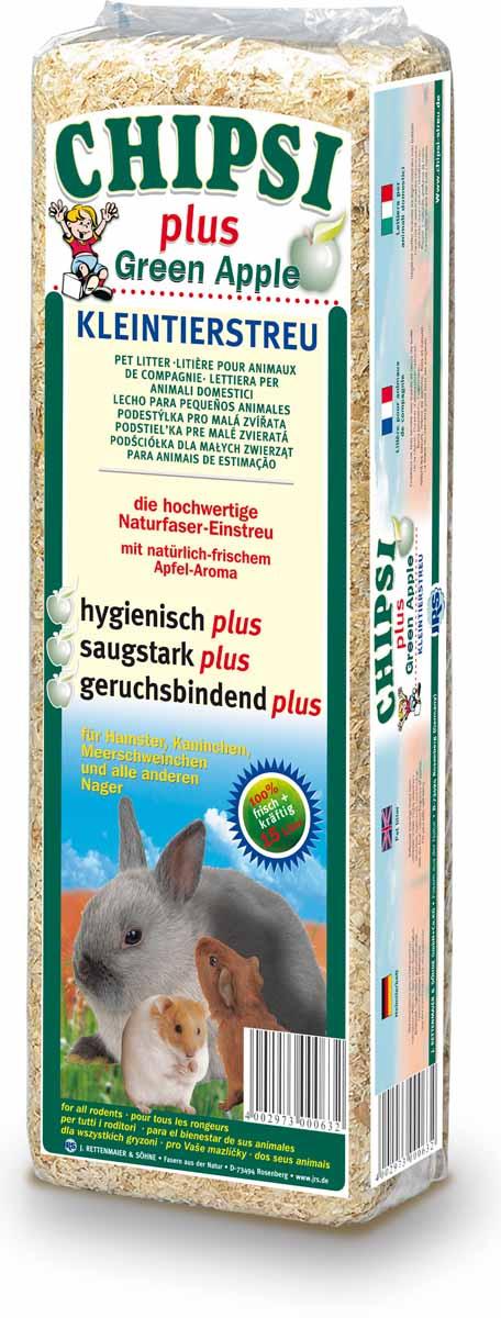 Chipsi Plus Green Apple Наполнитель древесный ароматизированный для грызунов 15л*1кг