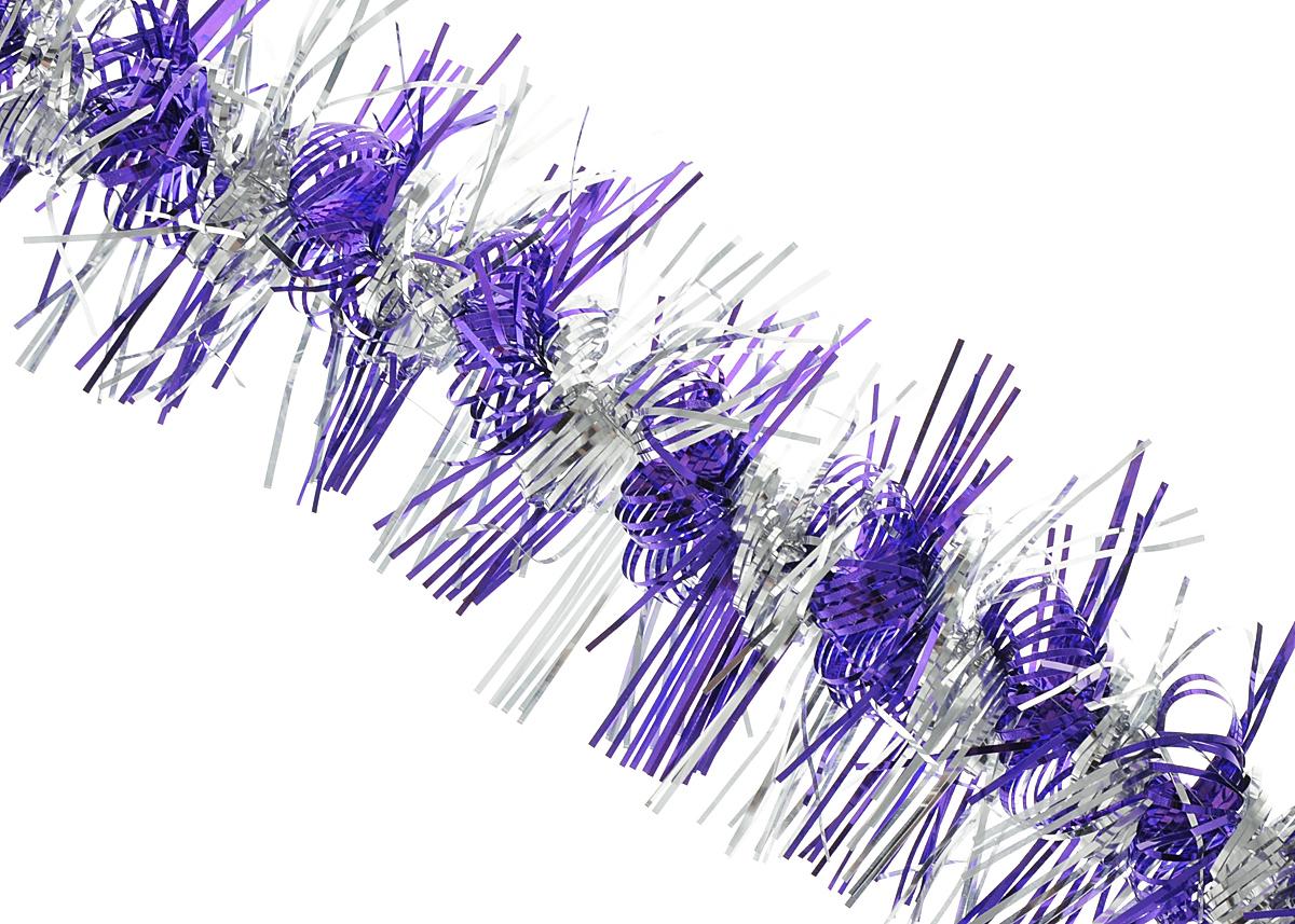 """Мишура новогодняя Феникс-презент """"Magic Time"""", цвет: фиолетовый, серебристый, диаметр 9 см, длина 200 см. 34863"""