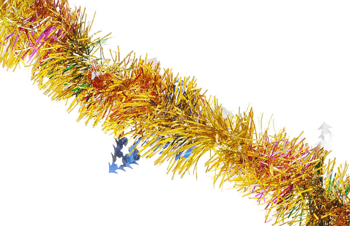 """Мишура новогодняя Феникс-презент """"Magic Time"""", цвет: золотистый, синий, диаметр 6 см, длина 200 см. 38180"""