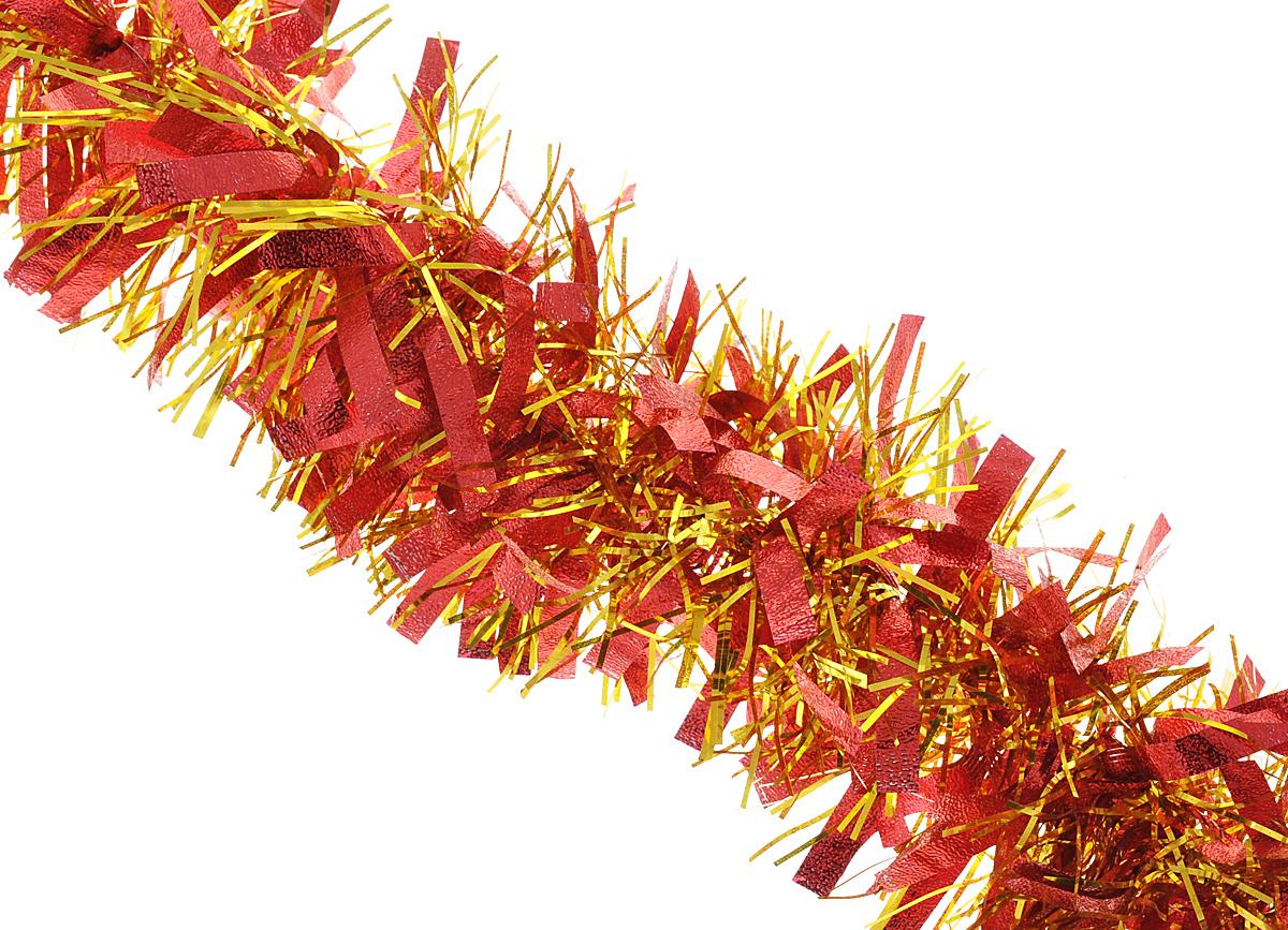 """Мишура новогодняя Феникс-презент """"Magic Time"""", цвет: красный, золотистый, диаметр 9 см, длина 200 см"""