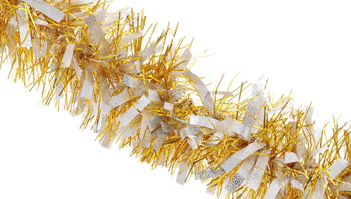 """Мишура новогодняя Феникс-презент """"Magic Time"""", цвет: золотистый, серебристый, диаметр 9 см, длина 200 см"""