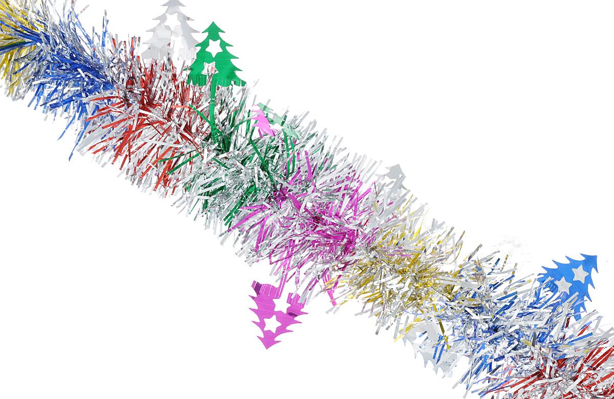 """Мишура новогодняя Феникс-презент """"Magic Time"""", цвет: золотой, серебристый, фиолетовый, диаметр 6 см, длина 200 см. 38181"""