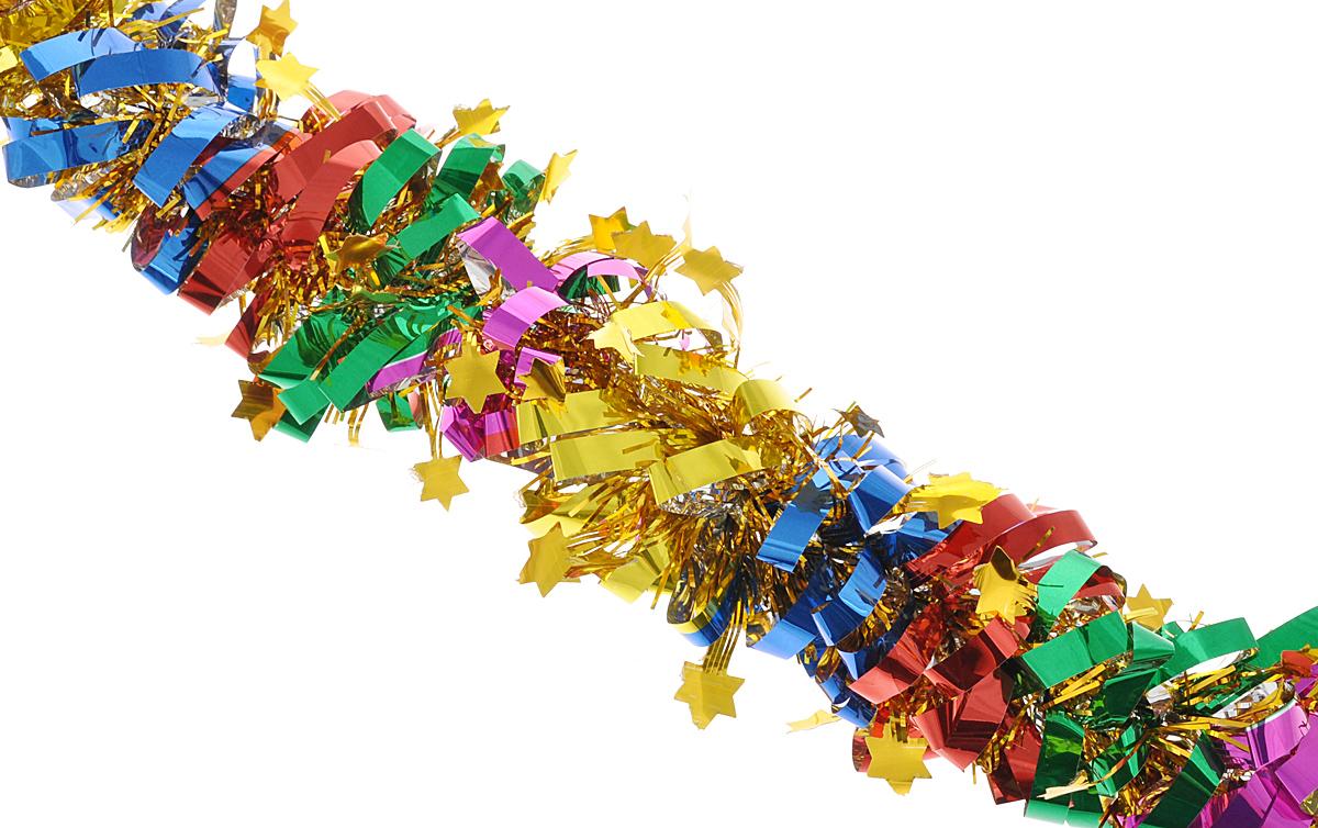 """Мишура новогодняя Феникс-презент """"Magic Time"""", цвет: золотистый, красный, зеленый, диаметр 8 см, длина 200 см. 38177/75768"""