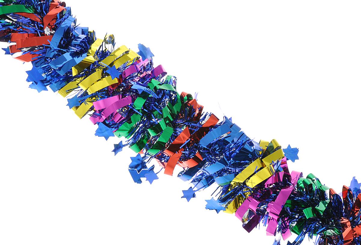 """Мишура новогодняя Феникс-презент """"Magic Time"""", цвет: синий, красный, зеленый, диаметр 8 см, длина 200 см. 38178"""