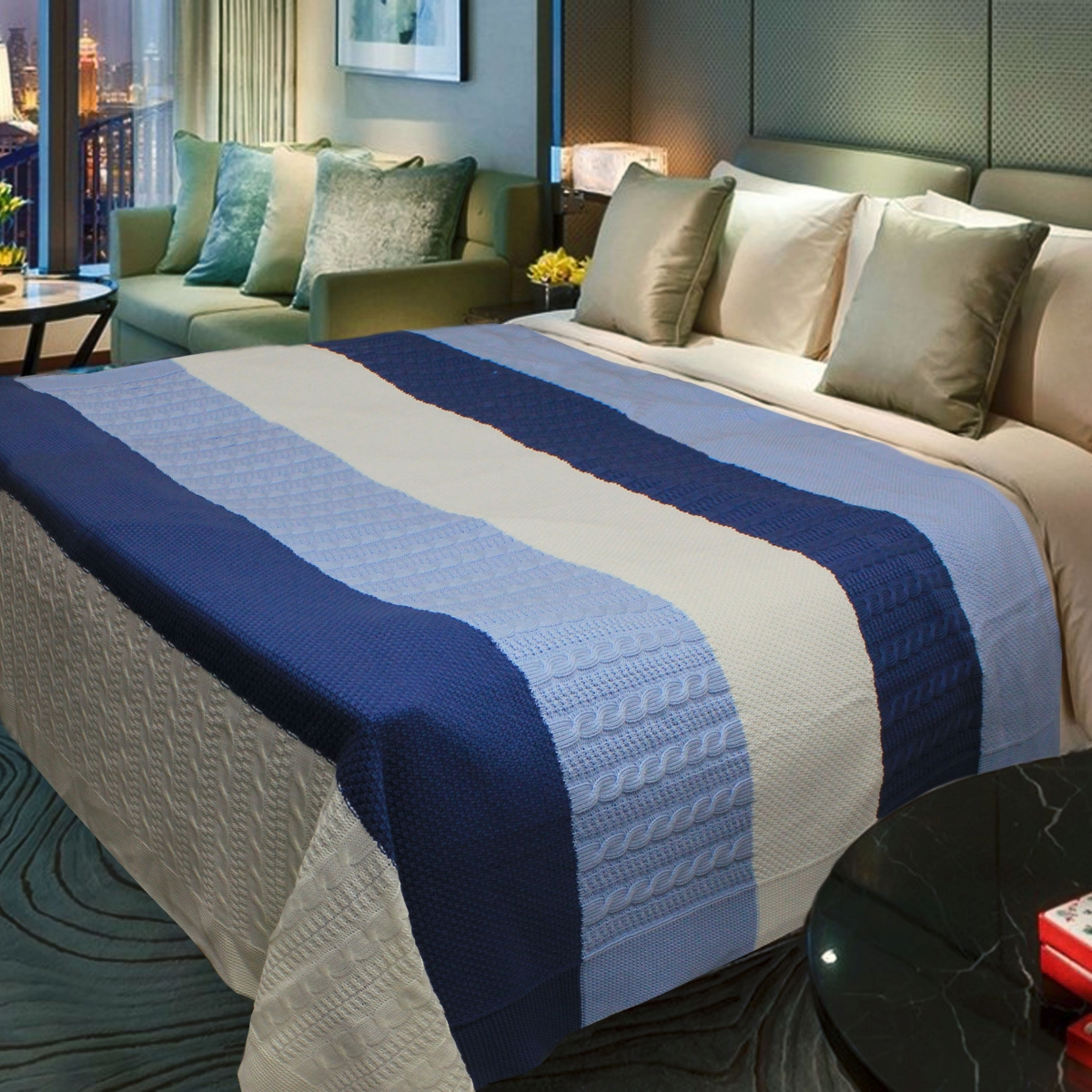 "Плед Buenas Noches ""Cotton"", цвет: белый, голубой, синий, 180 см х 210 см"
