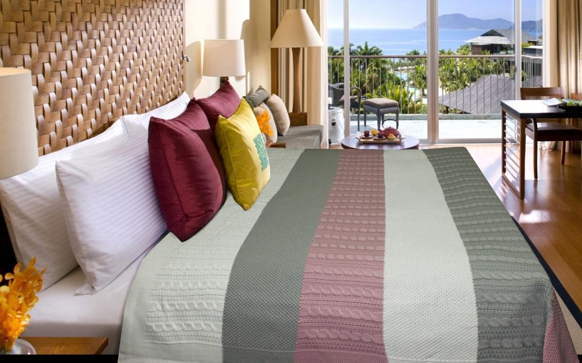 "Плед Buenas Noches ""Cotton"", цвет: белый, розовый, серый, 180 см х 210 см"