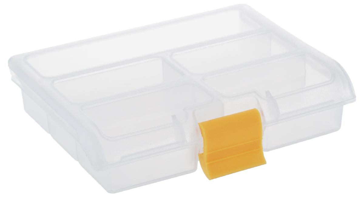 Органайзер для мелочей Idea, цвет: прозрачный, желтый, 5 секций органайзер кухонный idea цвет салатовый 19 х 25 х 14 5 см