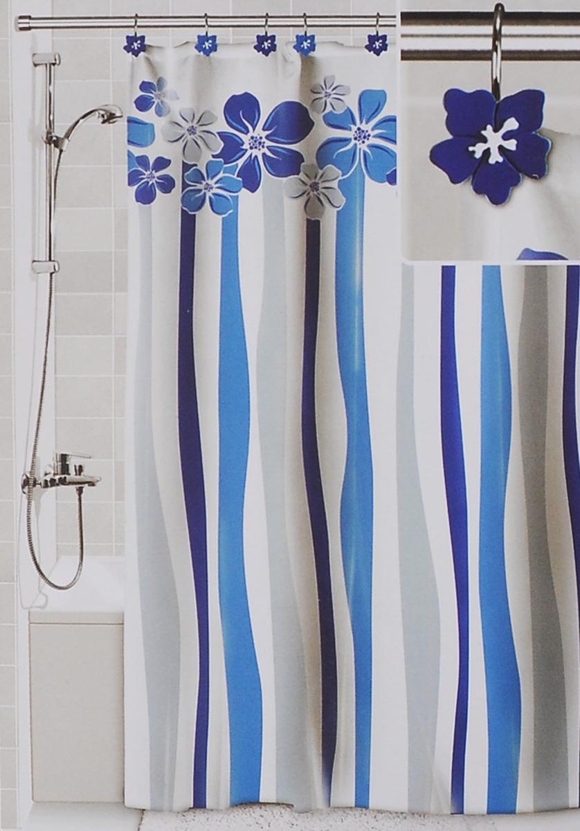Штора для ванной Valiant Водопад цветов, цвет: белый, голубой, 180 х 180 см штора для ванной valiant водопад цветов цвет белый голубой 180 х 180 см