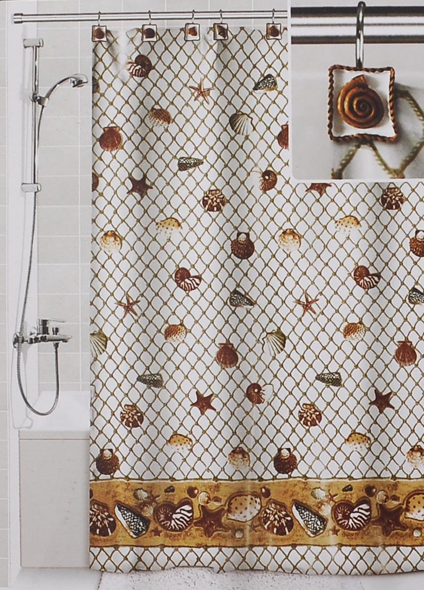 Штора для ванной Valiant Морские ракушки, цвет: белый, коричневый, 180 см х 180 см штора для ванной valiant водопад цветов цвет белый голубой 180 х 180 см