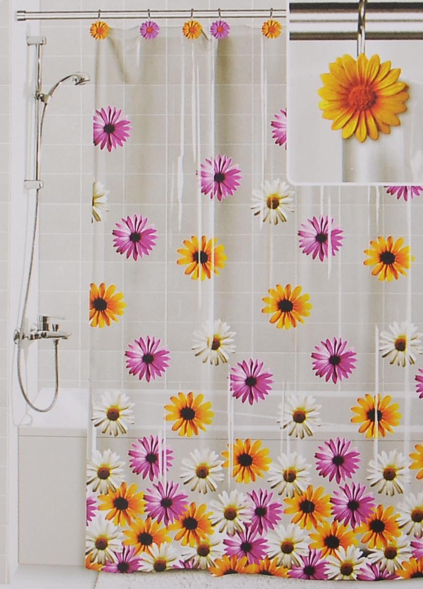Штора для ванной Valiant Герберы, цвет: белый, желтый, розовый, 180 см х 180 см штора для ванной valiant водопад цветов цвет белый голубой 180 х 180 см