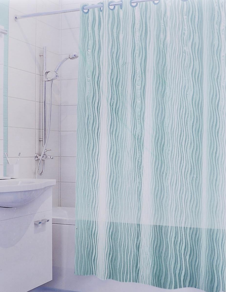 Штора для ванной 3D Valiant Волна, цвет: зеленый, 180 х 180 см штора для ванной valiant морские ракушки цвет белый коричневый 180 см х 180 см