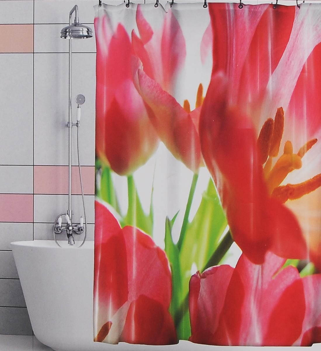 Штора для ванной Valiant Красные тюльпаны, цвет: белый, красный, 180 см х 180 см штора для ванной valiant водопад цветов цвет белый голубой 180 х 180 см