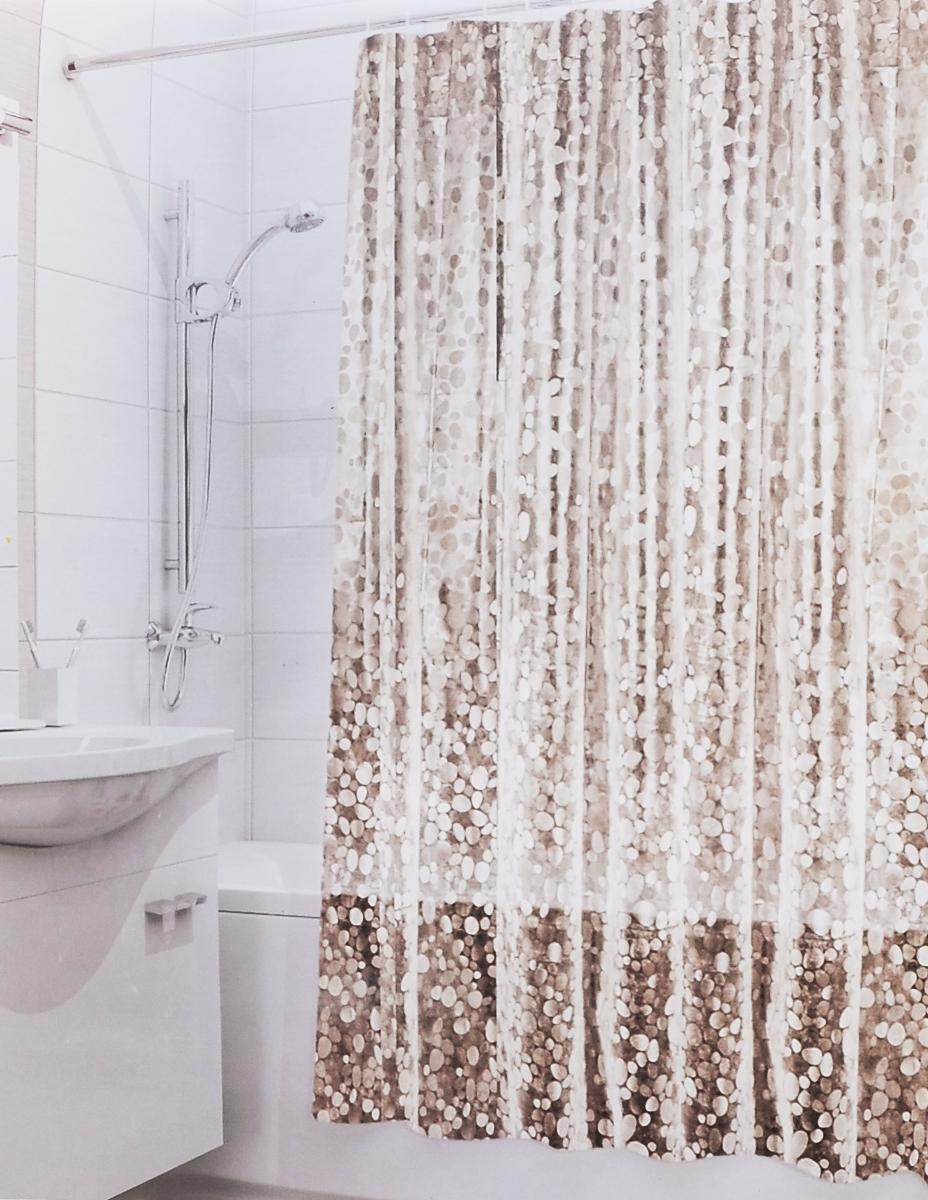 Штора для ванной 3D Valiant Камни, цвет: коричневый, бежевый, 180 см х 180 см штора для ванной valiant водопад цветов цвет белый голубой 180 х 180 см