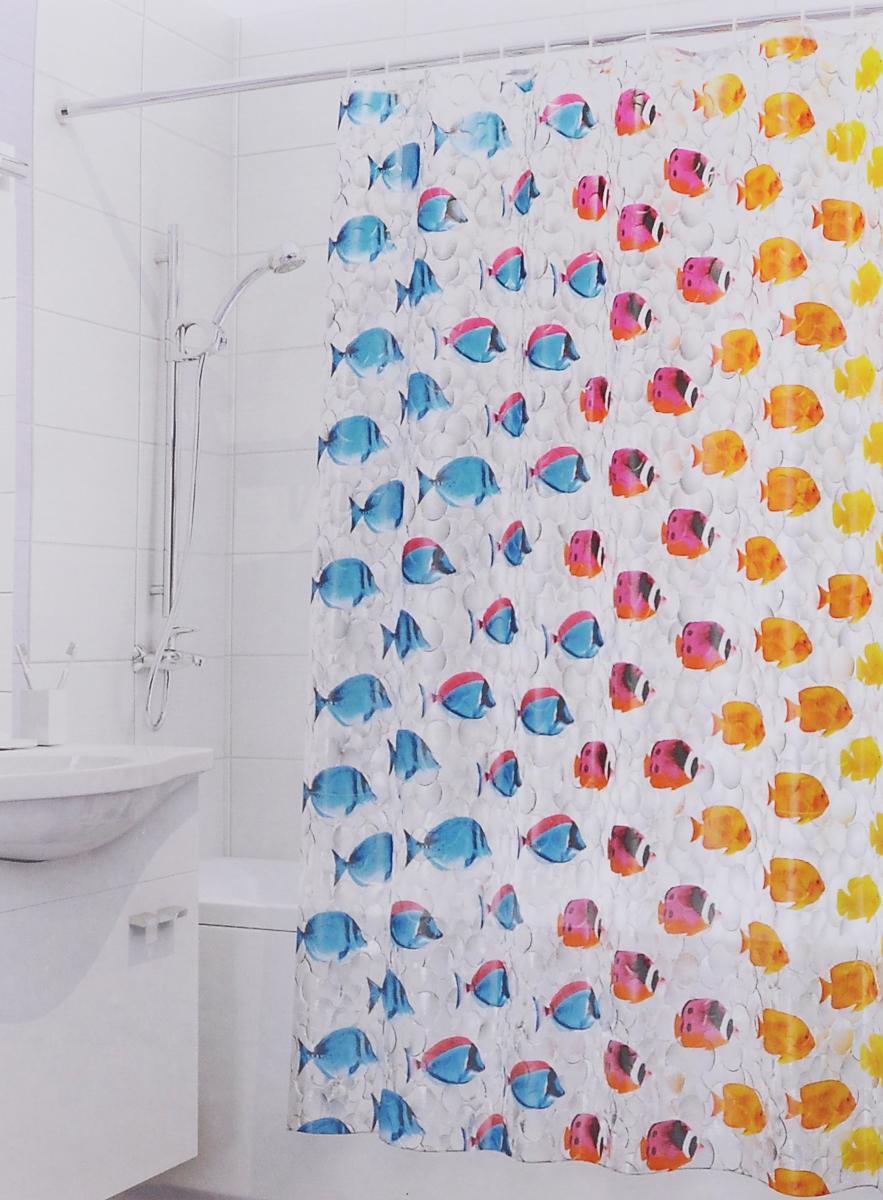 Штора для ванной 3D Valiant Цветные рыбки, цвет: голубой, желтый, красный, 180 х 180 см штора для ванной valiant морские ракушки цвет белый коричневый 180 см х 180 см