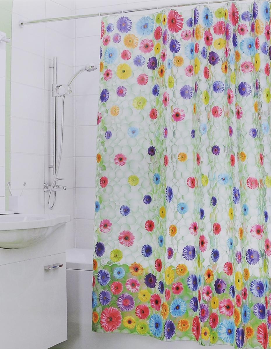 Штора для ванной 3D Valiant Герберы, цвет: зеленый, розовый, желтый, 180 см х 180 см штора для ванной valiant морские ракушки цвет белый коричневый 180 см х 180 см