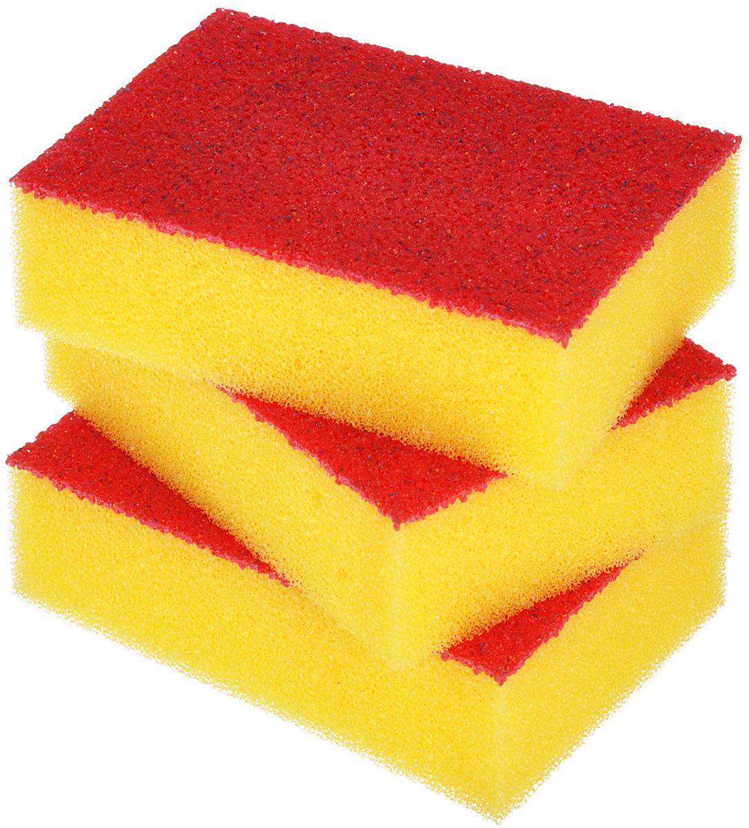 Набор губок Хозяюшка Мила Люкс для мытья посуды, цвет: желтый, 3 шт набор губок для мытья посуды хозяюшка мила комфорт