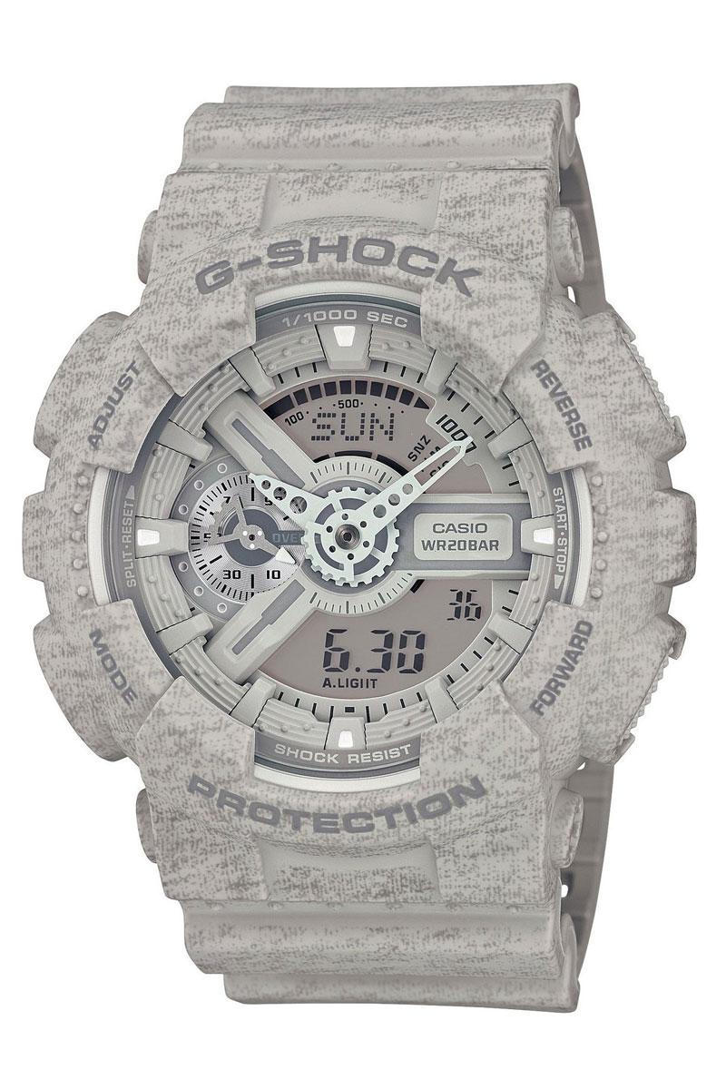 Часы наручные Casio, цвет: серый. GA-110HT-8AGA-110HT-8AНаручные часы Casio произведены опытными специалистами из материалов самого высокого качества на базе новейших технологий. Часы прошли тщательную проверку и контроль качества. Часы оснащены кварцевым механизмом. Корпус выполнен из полимерного материала. Дисплей часов защищен минеральным стеклом, устойчивым к появлению царапин и подсвечивается светодиодной автоматической супер-подсветкой. При движении руки дисплей освещается ярким светом. Ремешок часов выполнен из полимерного материала и оснащен застежкой-пряжкой. Часы имеют дополнительные функции: мировое время, индикатор даты, секундомер, таймер, будильник. Лимитированная серия. Ударопрочная конструкция защищает механизм от ударов и вибрации. Защищены от магнитных полей. Часы укомплектованы паспортом с подробной инструкцией и упакованы в оригинальную фирменную коробку. Характеристики: Длина ремешка (с учетом корпуса): 27 см. Ширина ремешка: 2,5 см. Диаметр корпуса: 5,5 см. Диаметр циферблата: 5 см. Дополнительные функции: Мировое время - 48 городов (29 часовых поясов), всемирное координированное время (UTC), функция включения/отключения летнего времени, секундомер с точностью показаний 1/1000с и временем измерения 100ч, измерение скорости, таймер обратного отсчета от 1мин до 24ч с автоповтором.