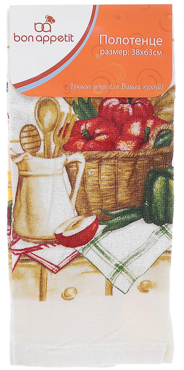 Полотенце кухонное Bon Appetit Завтрак, цвет: молочный, зеленый, красный, 63 х 38 см полотенце для кухни bon appetit набор из 2 полотенец для кухни berrys