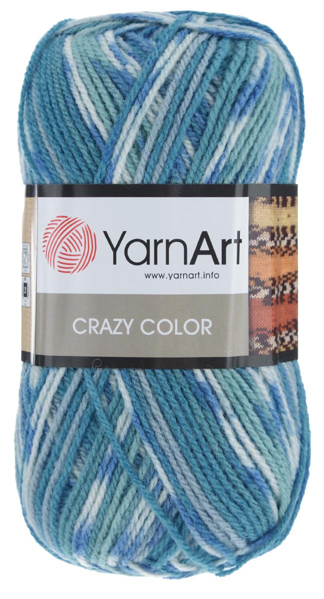 """Пряжа для вязания YarnArt """"Crazy Color"""", цвет: бирюзовый, белый, светло-зеленый (98), 260 м, 100 г, 5 шт"""