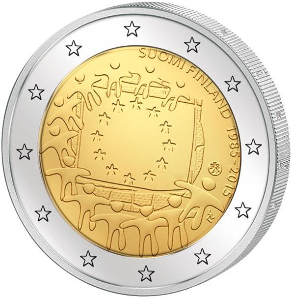 Монета номиналом 2 евро 30 лет флагу Европы. Финляндия, 2015 год монета номиналом 50 копеек 50 лет советской власти медно никелевый сплав ссср 1967 год