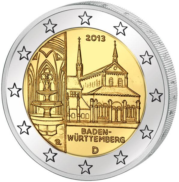 Монета номиналом 2 евро Баден-Вюртемберг. Монастырь Маульбронн. Германия, 2013 год монета номиналом 2 евро 10 лет введения наличных евро германия 2012 год