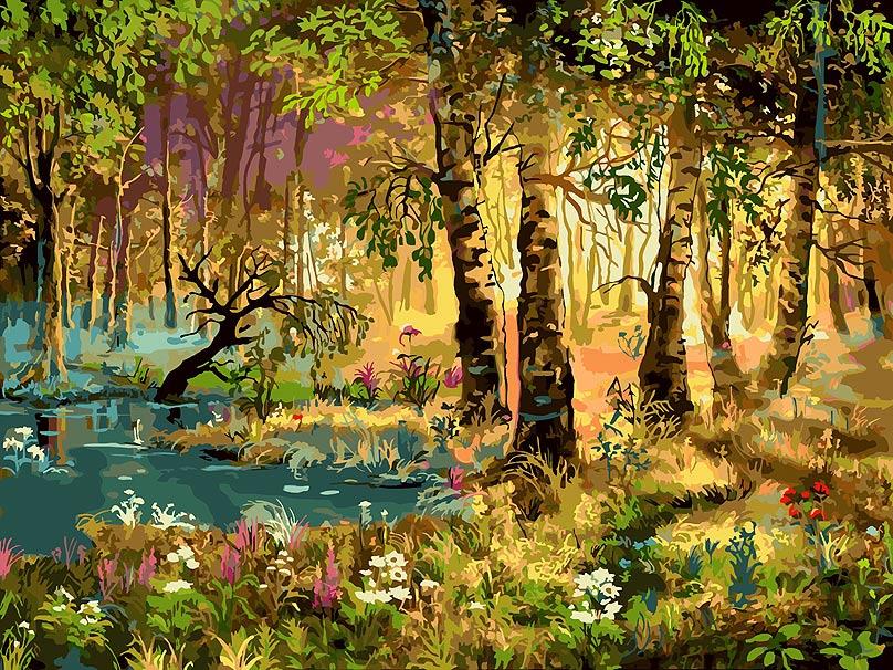 Живопись на холсте Белоснежка Утро в лесу, 30 х 40 см набор для творчества белоснежка живопись на холсте 30 40см свидание 775 as