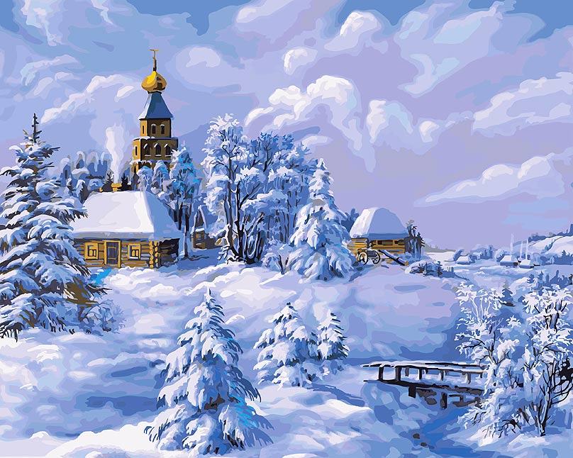 Живопись на холсте Зима в деревне, 40 см х 50 см живопись на холсте букет маков 40 см х 50 см