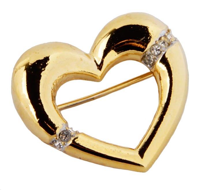 Винтажная брошь Сердце от Sphinx. Бижутерный сплав золотого тона, кристаллы . Sphinx, Великобритания, конец ХХ века f popy sphinx