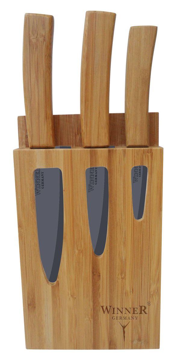 Набор керамических ножей Winner, на подставке, 4 предметаWR-7311Набор ножей Winner состоит из поварского ножа, 2 универсальных ножей и подставки. Лезвия ножей выполнены из высококачественной циркониевой керамики. Керамические ножи не подвергаются коррозии и не придают металлического привкуса или запаха, а также сохраняют свежесть продуктов. Режущая кромка лезвий устойчива к притуплению. Ножи высоко гигиеничны и легки в очистке. Рукоятки эргономичной формы выполнены из бамбука. Специальный дизайн рукоятки обеспечивает комфортный и легко контролируемый захват. В комплект входит подставка. Общая длина поварского ножа: 26,4 см. Общая длина универсальных ножей: 20,3 см; 24,3 см.