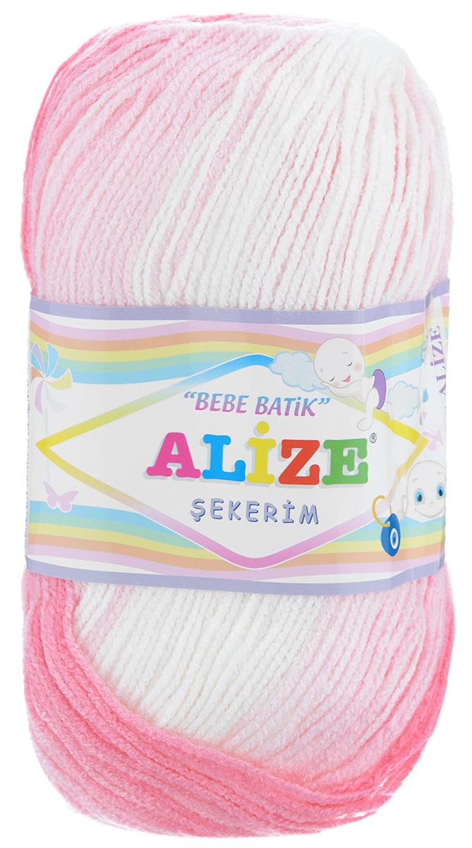 Пряжа для вязания Alize Sekerim Bebe Batik, цвет: белый, розовый, светло-розовый 2126), 320 м, 100 г, 5 шт лонгслив для девочки batik цвет розовый ds0143 4 размер 140