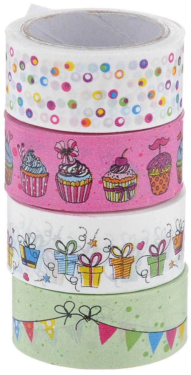 """Набор бумажных лент """"Heyda"""", на клейкой основе, цвет: белый, ярко-розовый, светло-зеленый, 1,5 см х 500 см, 4 шт"""