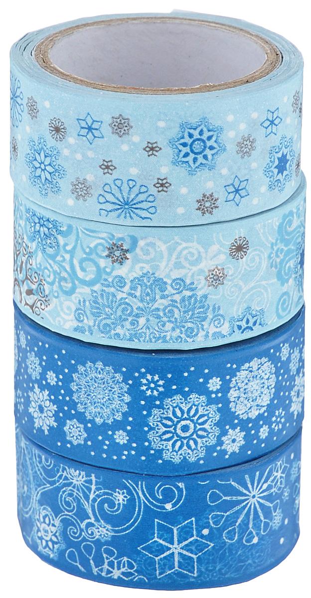 """Набор бумажных лент """"Heyda"""", на клейкой основе, цвет: синий, голубой, белый, 1,5 см х 500 см, 4 шт"""