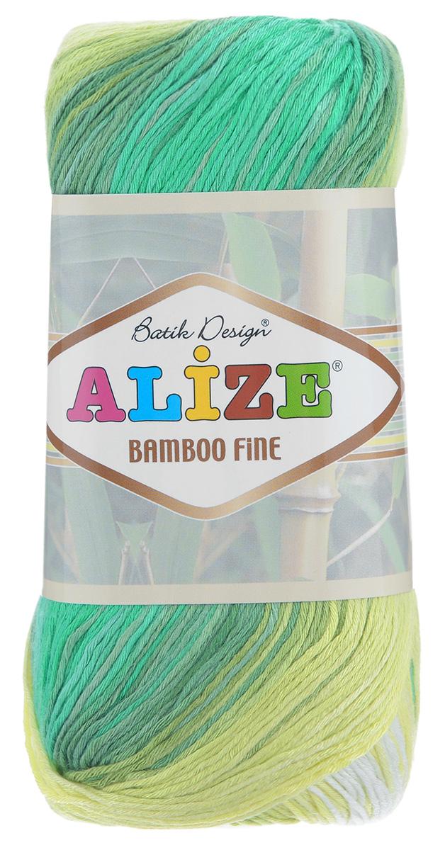 Пряжа для вязания Alize Bamboo Fine, цвет: белый, желтый, зеленый (4557), 440 м, 100 г, 5 шт пряжа для вязания alize bamboo fine цвет зеленый синий фиолетовый 3260 440 м 100 г 5 шт