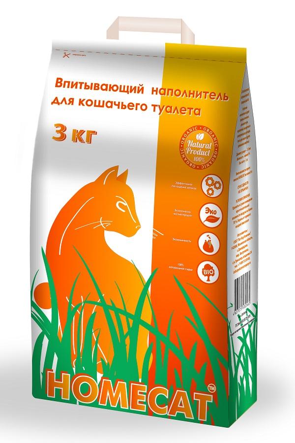 Наполнитель для кошачьего туалета Homecat, 3 кг наполнитель для туалета кошачьего