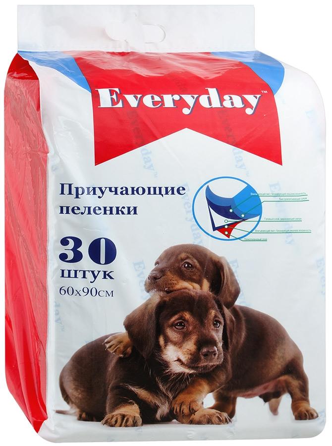 Пеленки для животных Everyday, впитывающие, гелевые, 60 х 90 см, 30 шт everyday everyday эвридей впитывающие пеленки для животных гелевые 60 х 60 см 30 шт