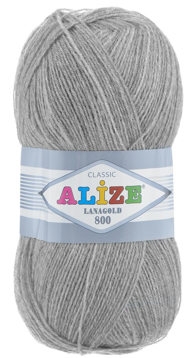 """Пряжа для вязания Alize """"Lanagold 800"""", цвет: серый меланж (21), 800 м, 100 г, 5 шт"""